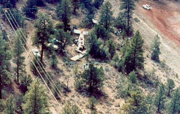 Aerial view of the accident scene. This photo also illustrates the close proximity of the three-phase electrical power lines that supplied power to the airport's facility's.