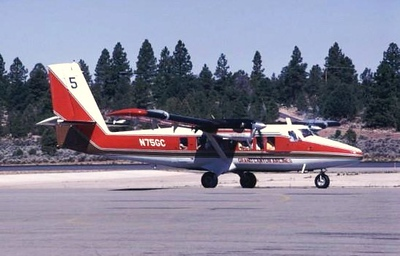 """AIRCRAFT INVOLVED<br /> <br /> The deHavilland DHC-6-300 Twin Otter (N75GC), s/n 439, was manufactured in 1975. The airplane was acquired by Grand Canyon Airlines on May 30, 1987. Modifications to a """"VistaLiner"""" took place shortly thereafter.<br /> <br /> Returning from an air tour at Grand Canyon National Park Airport, this photograph of """"Canyon 5"""" as it was known by it's call sign was taken during July 1989."""
