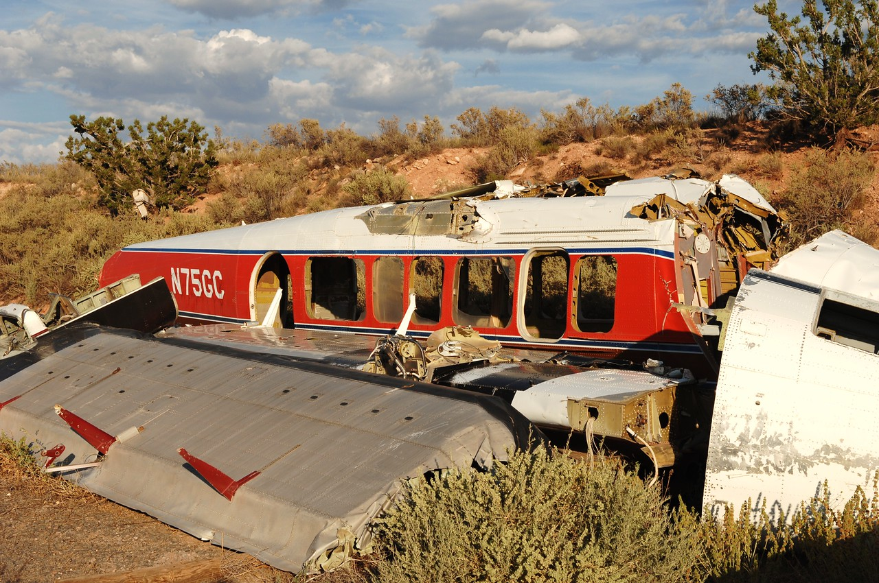 "The shattered remains of ""Canyon 5"" had been purchased from the insurance company by John Siebold who at the time of the accident was part owner of Grand Canyon Airlines. <br /> <br /> Siebold, who also founded Scenic Airlines in 1967 was also behind the development of the VistaLiner concept. <br /> <br /> Siebold, bothered by the circumstances of the accident, purchased the hull from the insurance company to further study how his design held up to the impact forces."