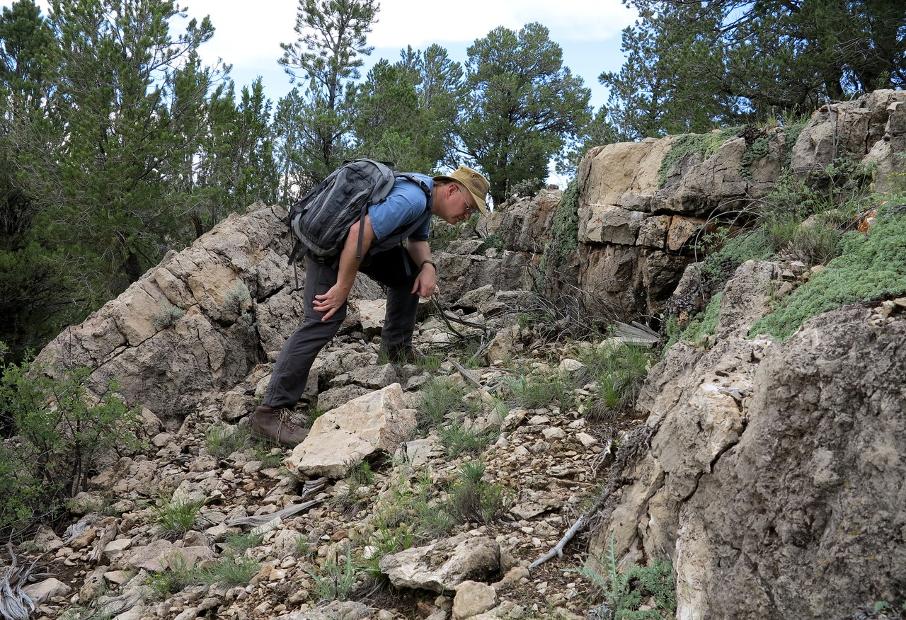 """SEARCHING FOR THE SITE - AUGUST 2013<br /> <br /> Returning to the ravine, I began my search near the upper edge and soon found the impact site of """"Rocky IV""""."""