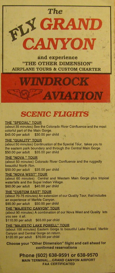 "This brochure from 1990 explains the various tours that were offered as well as prices. The ""Quality"" Tour gave passengers aerial views from both the south and north rims of the Grand Canyon."