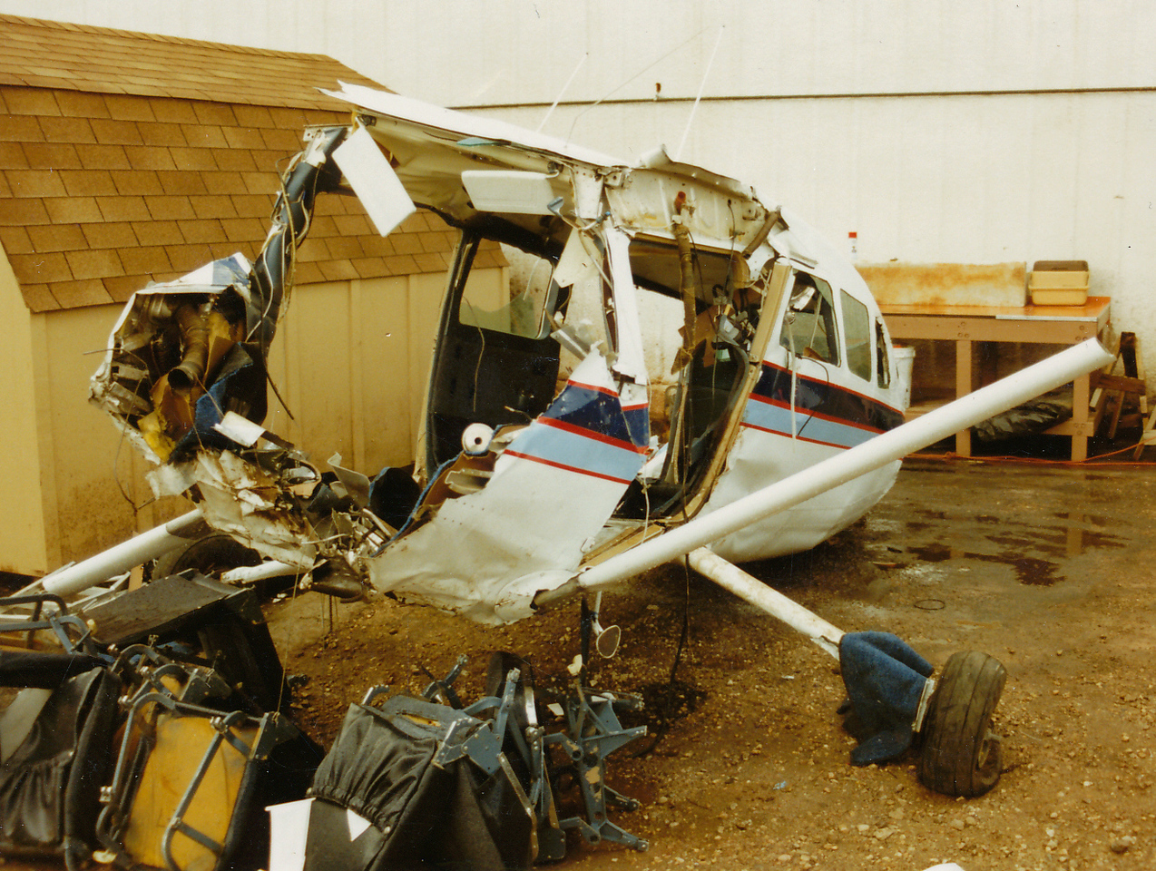 AIRCRAFT STORAGE - APRIL 1990<br /> <br /> The aircraft wreckage was recovered from the site and stored near the Grand Canyon Airlines Maintenance Hangar.