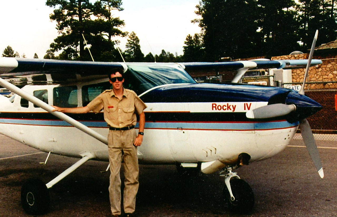 "THE AIRCRAFT<br /> <br /> Windrock Aviation pilot Patrick Doyle stands next to ""Rocky IV"". The aircraft was a Cessna T207 (N91081). It was the 62nd T207 delivered off Cessna's assembly line in Wichita, Kansas.<br /> <br /> The aircraft was powered by a Continental TSIO-520M turbocharged engine which delivered 310 horsepower on takeoff."