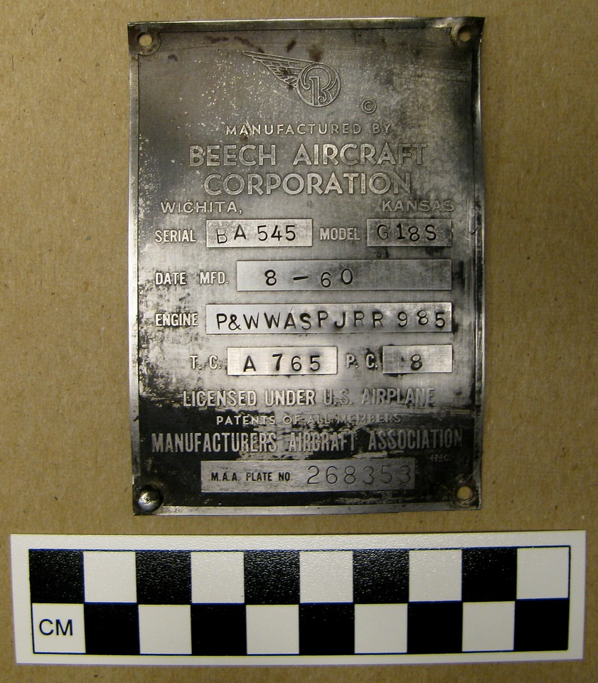 The same aircraft manufacture data plate was cleaned to reveal the aircraft model and serial number as well as the date of manufacture.
