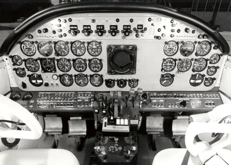 "The instrument panel of ""N318M"" probably looked much like this Model 18. Instruments and radios were basic for the time, but adequate for IFR or night flight."