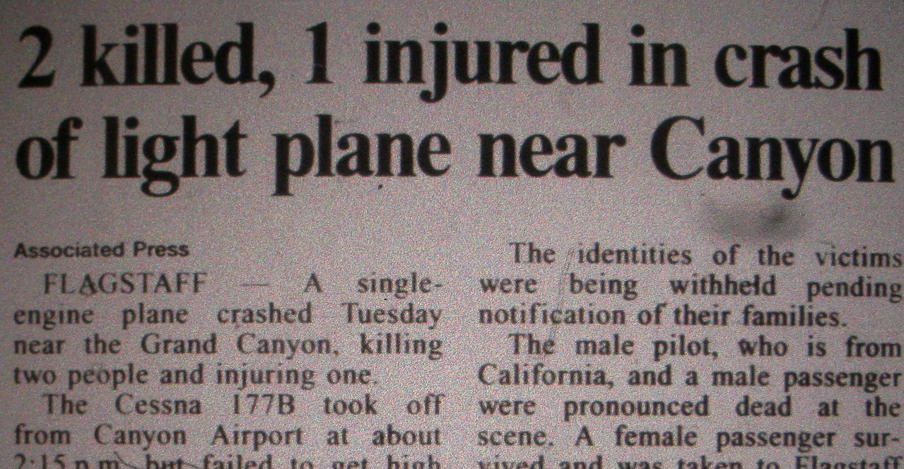 A newspaper article the next day gives an account to the tragedy. Miraculously one passenger survived this accident.