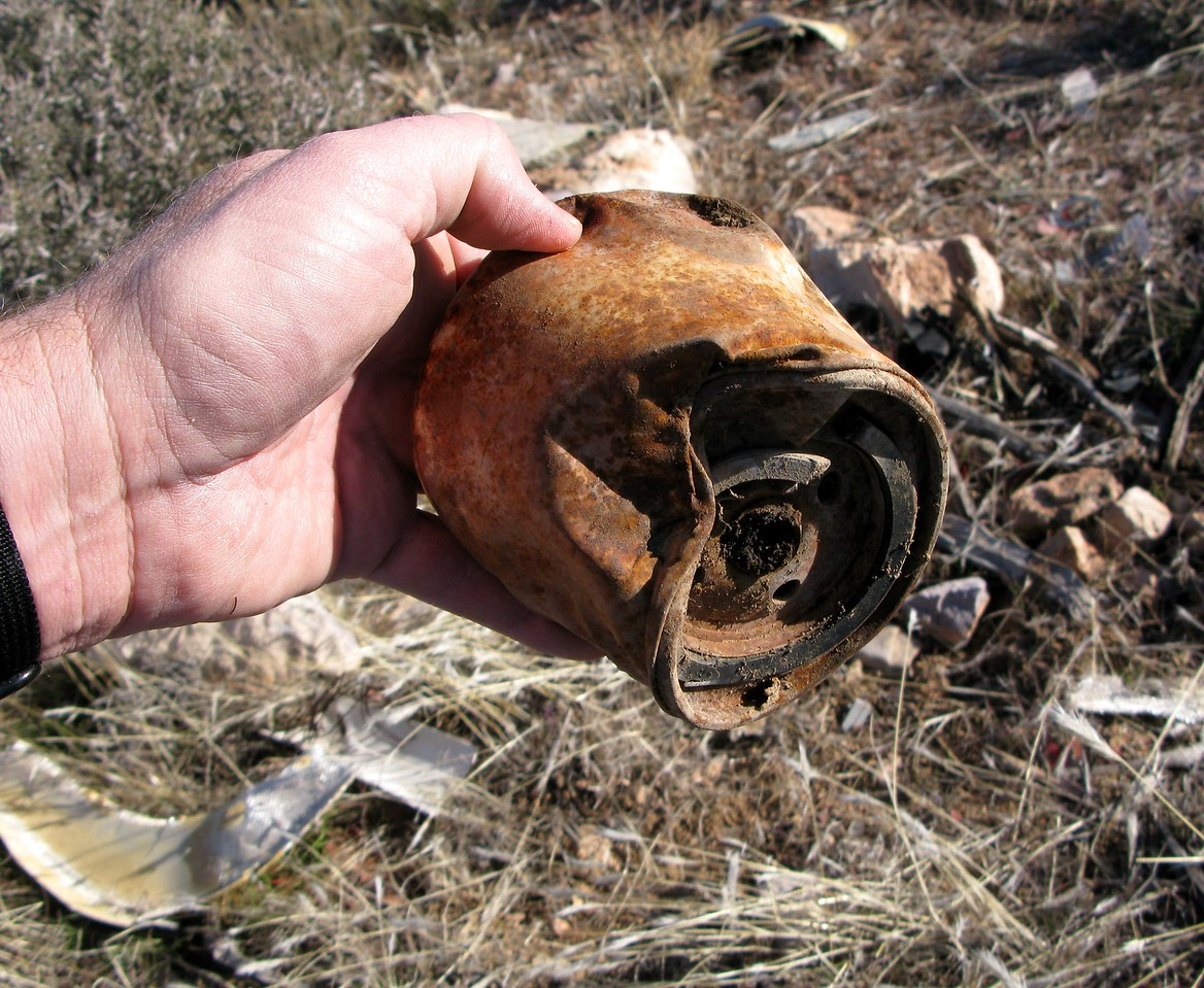 The oil filter also exhibited crushing type damage to it's metal casing. <br /> <br /> Usually, the oil filter is examined by accident investigators to determine if the engine was operating normally and if the oil contained metal.