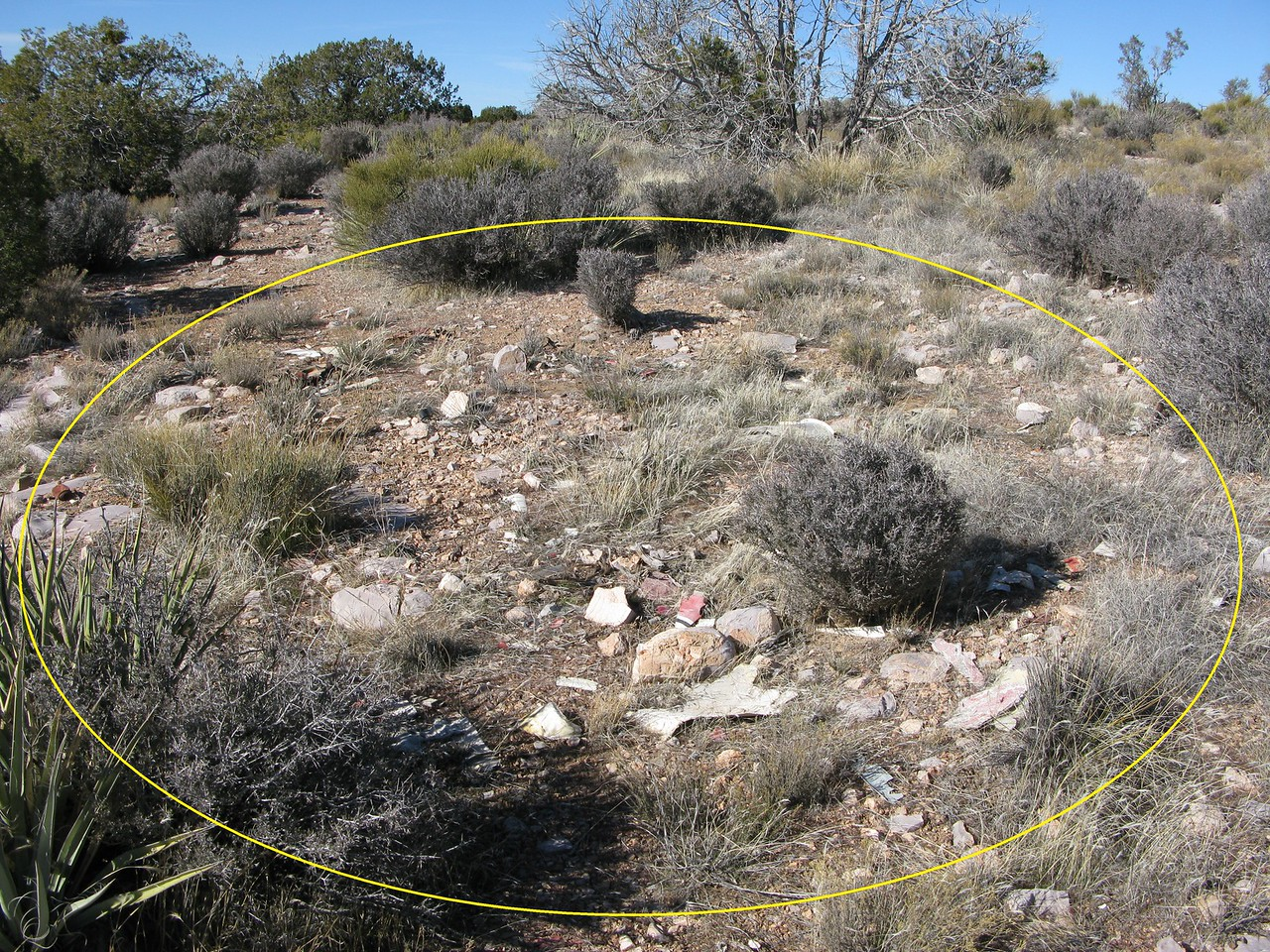 THE ACCIDENT SITE - JANUARY 2012<br /> <br /> The main impact area encompasses a 6 meter diameter circle of concentrated debris with wreckage fragments radiating out at 15 meters. There was no evidence of a post impact fire.