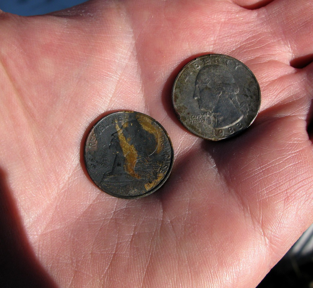 Burned coins found at the impact site not only included those from the United States, but also from France.
