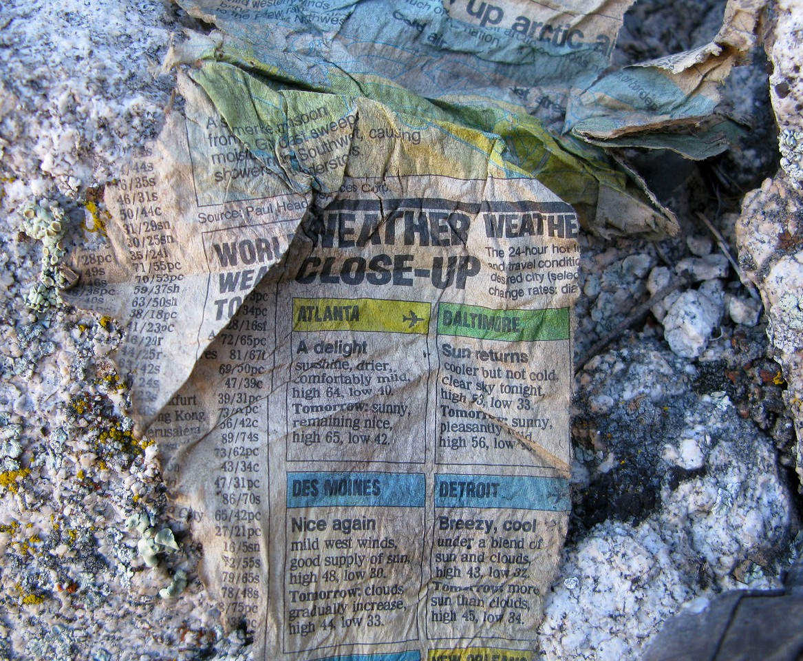Sometimes at a crash site I will find or see something that is either strange or ironic. <br /> <br /> At this weather related accident site, the weather section of this tattered page from a USAToday Newspaper caught my eye.<br /> <br /> I was also surprised that a newspaper could have survived after two decades.