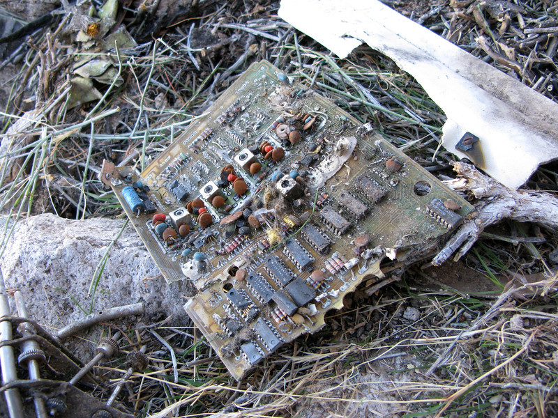 This electronic circuitry board probably came from either a communications radio or the aircraft's transponder.