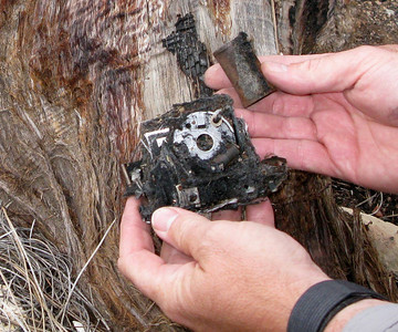 This passenger's charred camera once contained the happy memories of a vacation to the Grand Canyon. Now it sits abandoned in the Kaibab National Forest.