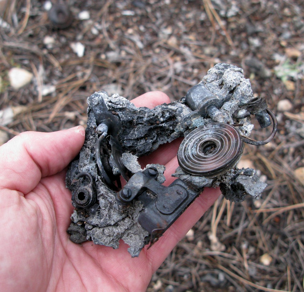 The plane carried nearly three hours of high octane aviation fuel which not only burned for a few hours after the crash, but also burned very hot.<br /> <br /> The intense heat is evident in this melted aircraft component found at the site. In many cases snow was thrown on the wreckage when firefighters ran low on water to extinguish the flames.