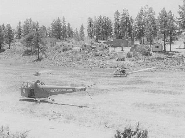 Arizona Helicopter Service Heliport - 1950<br /> <br /> A nearby vacant field in the basin of the Coconino Wash served as a landing field for Montgomery's air tour operation.