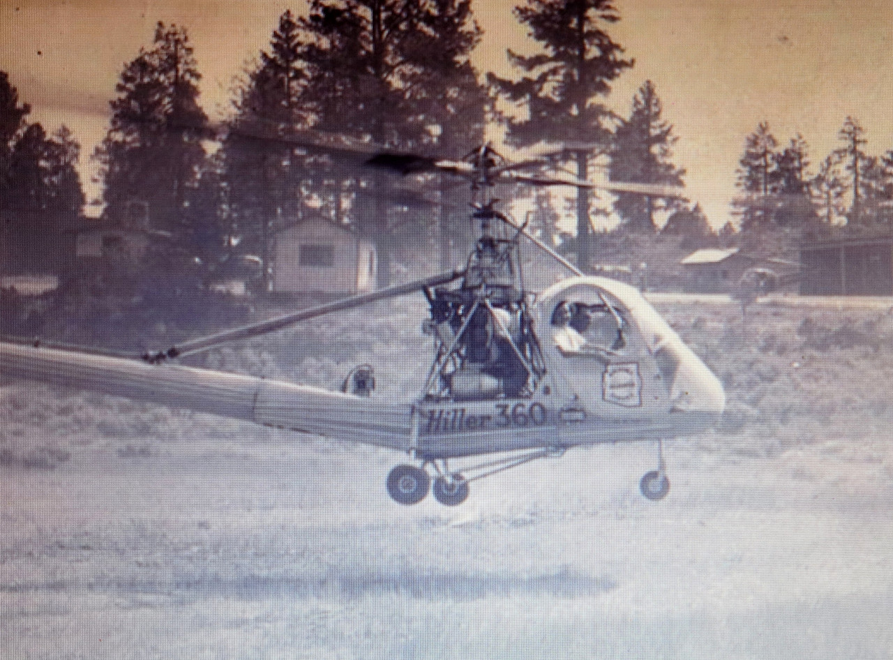 The Hiller 360 (civilian variant of the military UH-12) was a brand new helicopter for Arizona Helicopter Service. It was recognized with it's framed 'bubble'-type cabin and no fuselage structure. It was powered by a 175hp Franklin 6V4-178-B33 engine.<br /> <br /> This helicopter would later crash in the canyon during a river runner support charter flight. The July 1950 accident resulted in minor injuries to the pilot and passenger.