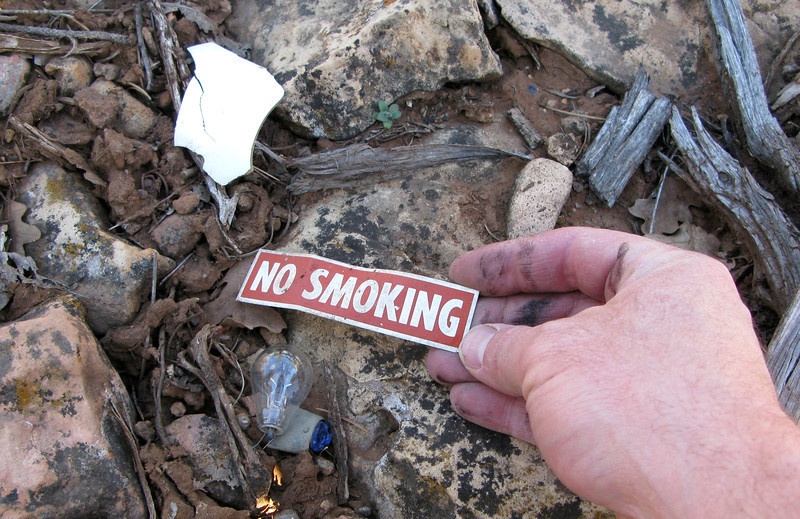 "A ""NO SMOKING"" sign that was probably attached to the aircraft's instrument panel, hints to the possibility that this crashed aircraft was used as a rental. <br /> <br /> Signs like this are quite common in aircraft rented to the aviation public or aircraft in public use. Not so common in personal aircraft."