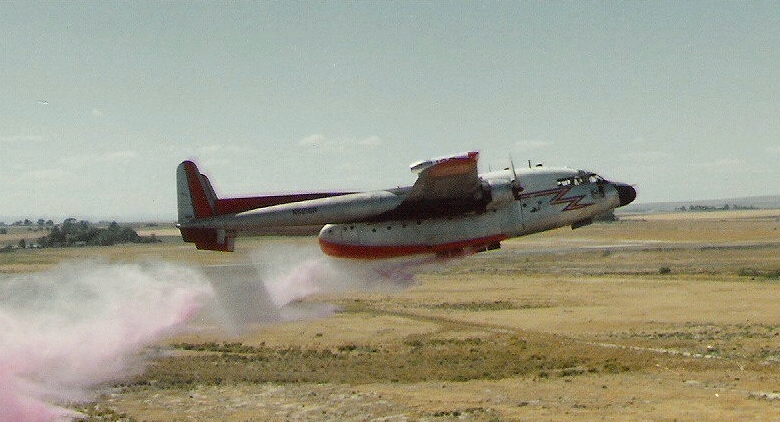 Just minutes after the accident, a contracted U.S. Forest Service Fairchild C-119 firefighting tanker aircraft (T-36) dropped 2,000 pounds of fire retardant slurry on Flight 306 in a desperate attempt to extinguish the fire.