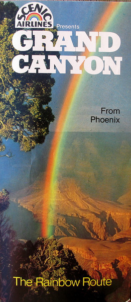 "A Scenic Airlines flight tour/schedule brochure from the summer of 1980 promoting it's scheduled service from Phoenix to Grand Canyon.<br /> <br /> Scenic Airlines incorporated ""The Rainbow Route"" name from Scenic Airways which was the first company to pioneer air tours over Grand Canyon."