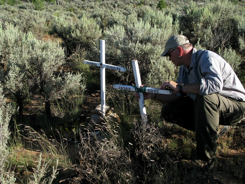 The Cook-Schuler Memorial consists of two crosses bearing the names of Jason Cook and Sondra Schuler.<br /> <br /> During my visit, I noticed the memorial crosses were not in the best condition and did my best to repair them.