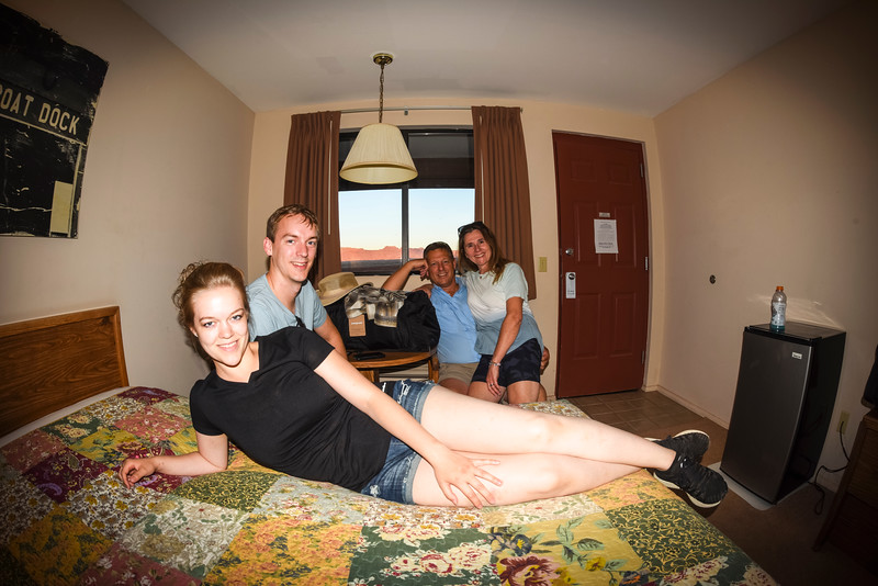 """The Kemis Family, """"Americana style"""" at the Cliff Dwellers Lodge""""."""