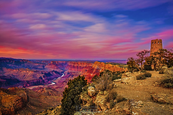 """""""Watchtower For The Painted Sky,"""" Desert View Watchtower and the Grand Canyon at Dusk, Grand Canyon National Park, Arizona"""