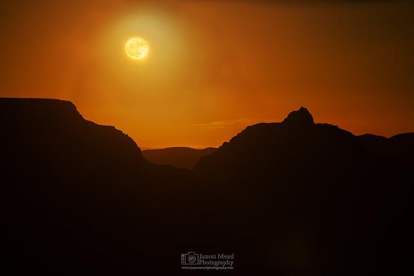 """Moonrise of the Gods,"" Full Moonrise over the Grand Canyon, Grand Canyon National Park, Arizona"