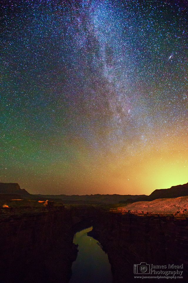 """Light Pollution and the Night Sky"" Light Pollution and the Milky Way over Marble Canyon and the Colorado River, Grand Canyon National Park, Arizona"