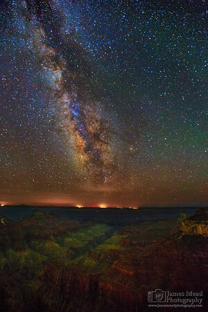 """""""Pathway to Paradise,"""" The Milky Way and Perseid Meteors over the Transept and Bright Angel Point, North Rim, Grand Canyon National Park, Arizona"""