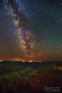 """Pathway to Paradise,"" The Milky Way and Perseid Meteors over the Transept and Bright Angel Point, North Rim, Grand Canyon National Park, Arizona"