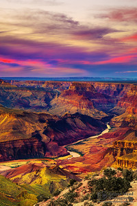"""A River's Power,"" Desert View, the Colorado River and the Palisades of the Desert at Sunset, Grand Canyon National Park, Arizona"