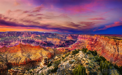 """A Canyon's Depth,"" Desert View, the Colorado River and the Palisades of the Desert at Sunset, Grand Canyon National Park, Arizona"