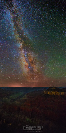 """""""Grand Nights,"""" Milky Way over Bright Angel Point, Oza Butte, and the Transept, North Rim, Grand Canyon National Park, Arizona"""