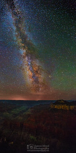 """Grand Nights,"" Milky Way over Bright Angel Point, Oza Butte, and the Transept, North Rim, Grand Canyon National Park, Arizona"