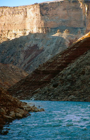 Fishermen in Marble Canyon who hiked one of the narrow slot canyons to fish the Colorado.