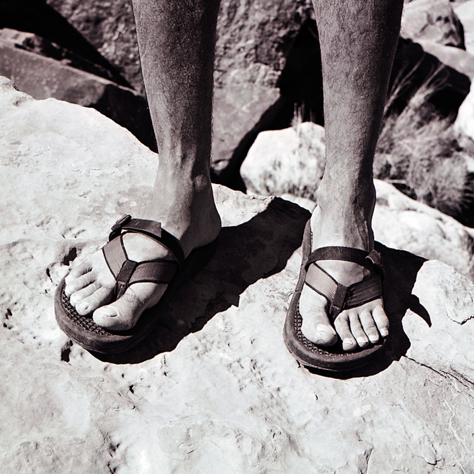 Standard footware at the time for most rafters and guides in the Grand Canyon.