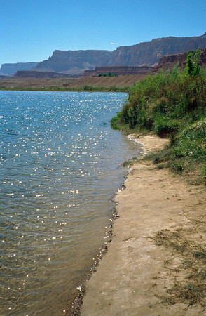 Beach at Lee's Ferry where most river trips begin. This is also a major landing where Wesley Powell stopped before entering the canyon.