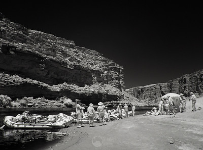 Lunch below Cathedral Wash, Mile 3.3. Infrared.