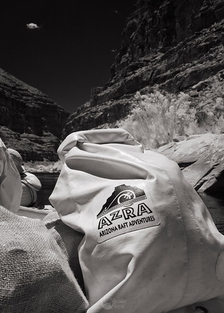 The AzRA white bag is the day accesible bag used by passengers.  Given the temperatures in the summer, they stay remarkably cool inside. Infrared.