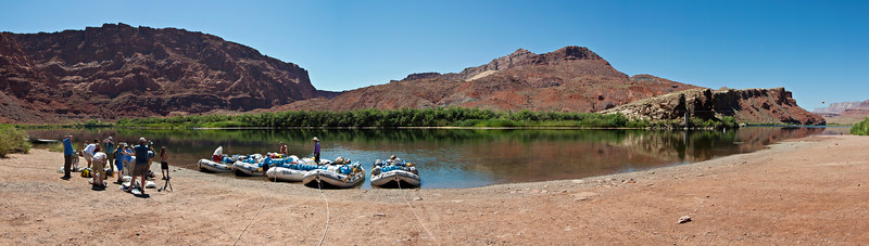 The boat beach at Lee's Ferry.  This is the departure point for all Grand Canyon rafting trips and marks mile zero on the river.  The ferry site was established in 1871-2 and was the only crossing point on the river for hundreds of miles until 1928 when the Navajo Bridge was constructed.  Founder John Doyle Lee was directed to create the ferry by the LDS church in part to hide him from Federal agents investigating his role in the Mountain Meadows Massacre.