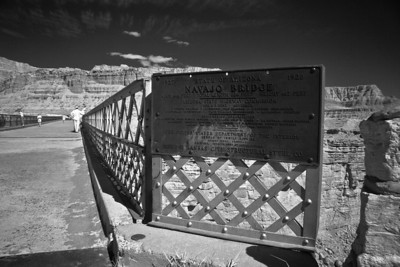 Sign next to the now pedestrian only old Navajo Bridge.  Infrared.