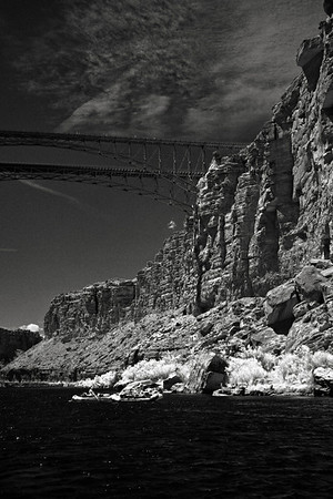 The Navajo Bridges cross the Colorado at river mile 4.5.  Infrared.