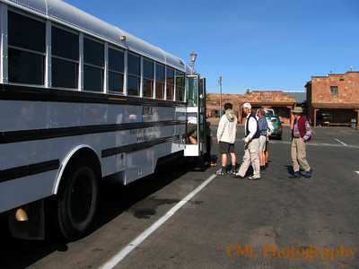 Boarding the bus after a stop at Cameron Trading post.