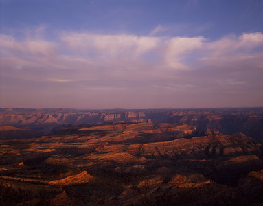 Grand Canyon-Parashant Natn'l. Mon.,, AZ. / Shivwits Plateau, sunset lighting the ribbons of cliffs below Kelly Point. 491h