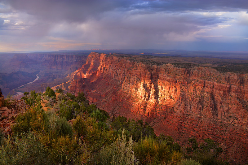 Beautiful view of  Grand Canyon mountains at sunset.