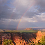 Beautiful double rainbow after thunderstorm at sunset,  Grand Canyon National Park,