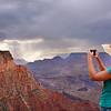 Girl enjoying beautiful mountain view.