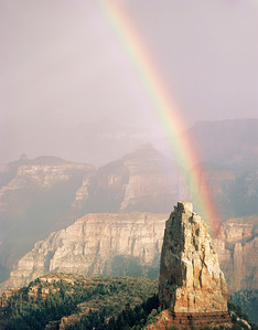 Grand Canyon Natn'l Park, AZ/Point Imperial,North Rim,rainbow after storm over Mt.Hayden xa vert8/87