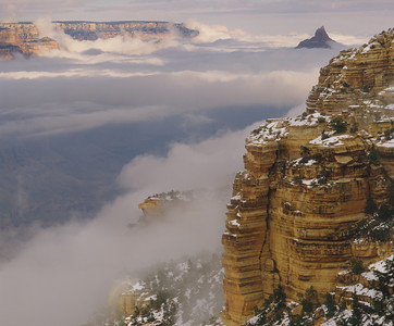 Grand Canyon Natn'l Park, AZ/Vishnu Temple in sea of clouds, snow from S.rim nr Yaki Pt.12/86v  xb