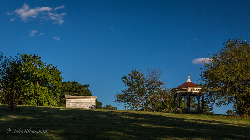 Maymont, late summer afternoon; mausoleum (L) & gazebo on edge of mansion lawn, WSW of mansion