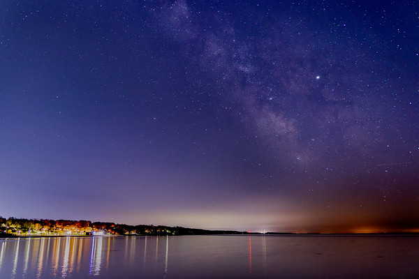 The Milky Way Stretches Over Lake Michigan and Grand Haven